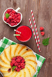 Raspberry smoothie, cake and berries