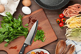 Pasta cooking ingredients and utensils