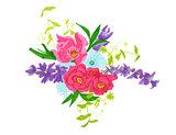 Colorful flowers bouquet  Illustration