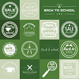 Set of Back to School Label On Green Background