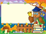 Autumn frame with owl teacher 6