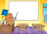 Book teacher by whiteboard