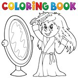Coloring book girl combing hair theme 1