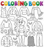 Coloring book girl with clothes theme 2