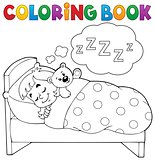 Coloring book sleeping child theme 1