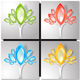 Set of four colorful trees