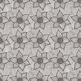 Vector seamless pattern of hand-drawn flowers