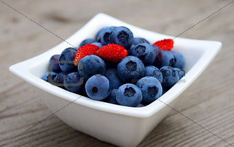 Fresh blueberries and strawberries