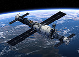 Space Station And Spacecrafts Orbiting Earth