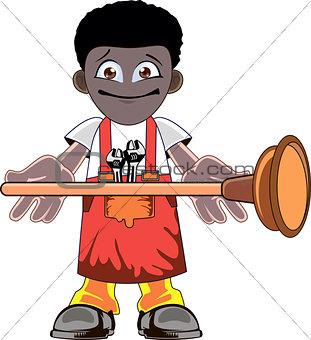 Cartoon Plumber holding Plunger