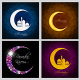Ramadan Kareem Background Collection Set Design. Vector Illustra