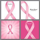 Breast Cancer Awareness Pink Ribbon Background Collection Set Ve