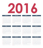 Calendar 2016 New Year. Vector Illustration