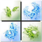 Set of Abstract green backgrounds