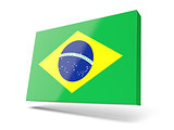 Square icon with flag of brazil