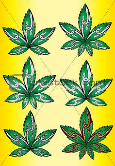 cannabis marijuana green leaf symbol design stamps
