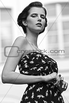 charming woman in outdoor fashion shoot BW shot