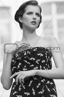 BW image .Brunette with summer dress