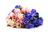 colorful rose bouquet isolated on white