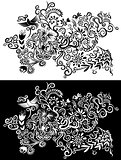 Decorative floral natural textured pattern with flowers leaves blossoms and doves vector illustration