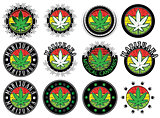cannabis leaf design stamps