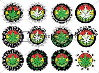 cannabis leaf design stamps