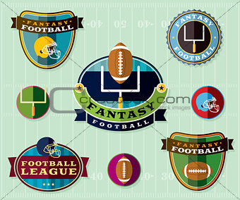 American Fantasy Football Emblems Set Illustration