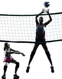 women volleyball players isolated silhouette