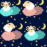 Seamless pattern with sheep at night