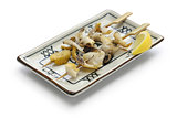 grilled skewered whelks, japanese food
