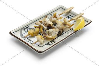 grilled skewered whelks, japanese food