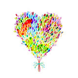 Holiday balloons, heart shape for your design