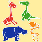 Giraffe, crocodile, hippo and boa