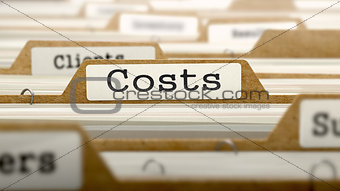 Costs Concept with Word on Folder.