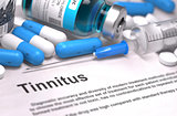 Tinnitus Diagnosis. Medical Concept. Composition of Medicaments.
