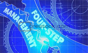 Four-Step Management Concept. Blueprint of Gears.