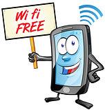 fun mobile cartoon with wi fi signboard