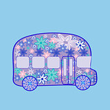 Bus retro vintage flowers hippie transport