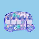 Bus retro vintage flowers hippie transport