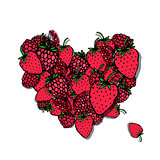 Berries heart, sketch for your design