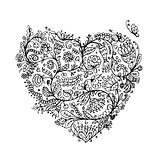Ornate floral heart for your design