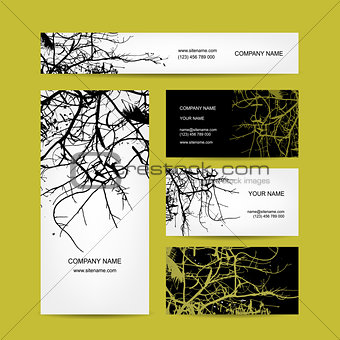 Business cards design, bare tree background