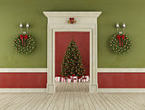 Retro room with christmas tree
