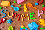 word summer made from modelling clay