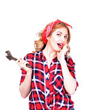 Girl with a wrench retro
