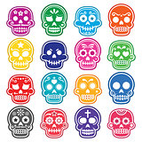Halloween, Mexican sugar skull, Dia de los Muertos - cartoon icons