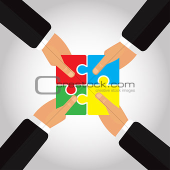 Folded Puzzles in the hands 4 hands vector illustration