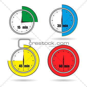 Clock icons stopwatch time from 15 minutes to 60 minutes vector
