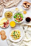 Freshl breakfast table. Healthy food. Top view.