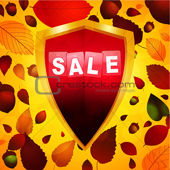 Autumn sale label over a shield